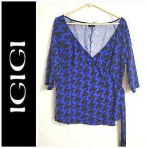 Vintage Igigi houndstooth knit wrap top  0X